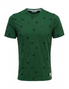 t-shirt homme Only&sons vert Onsepus aop fitted tee ss
