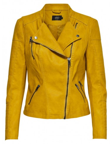 veste femme Only jaune Onlava faux leather biker otw noos