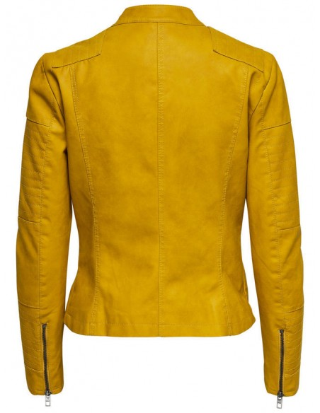 veste Only jaune Onlava faux leather biker otw noos