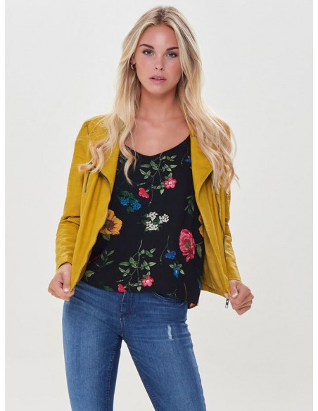 veste perfecto femme Only jaune Onlava faux leather biker otw noos