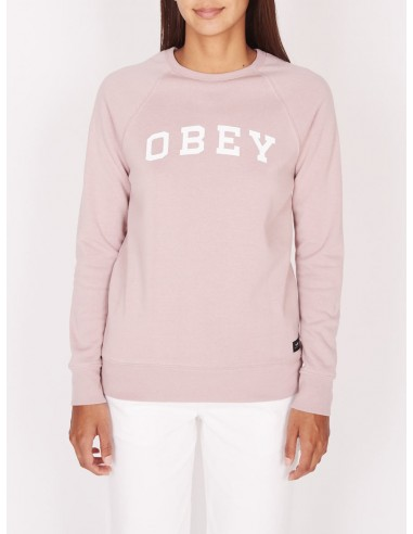 sweat femme obey Comfy logo crew rose