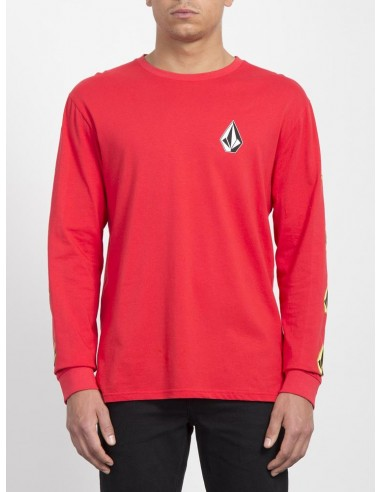 tee-shirt ML homme volcom rouge Deadly stone bcs ls