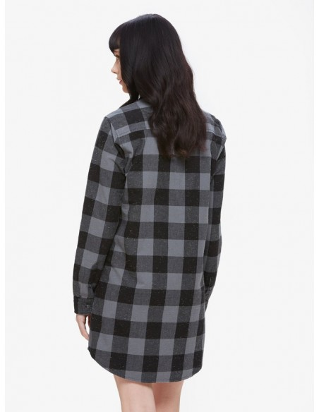 Bex shirt dress chemise carreaux noir