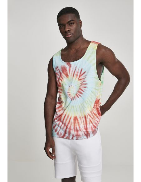 top homme urban classics rouge Spiral tie dye tank