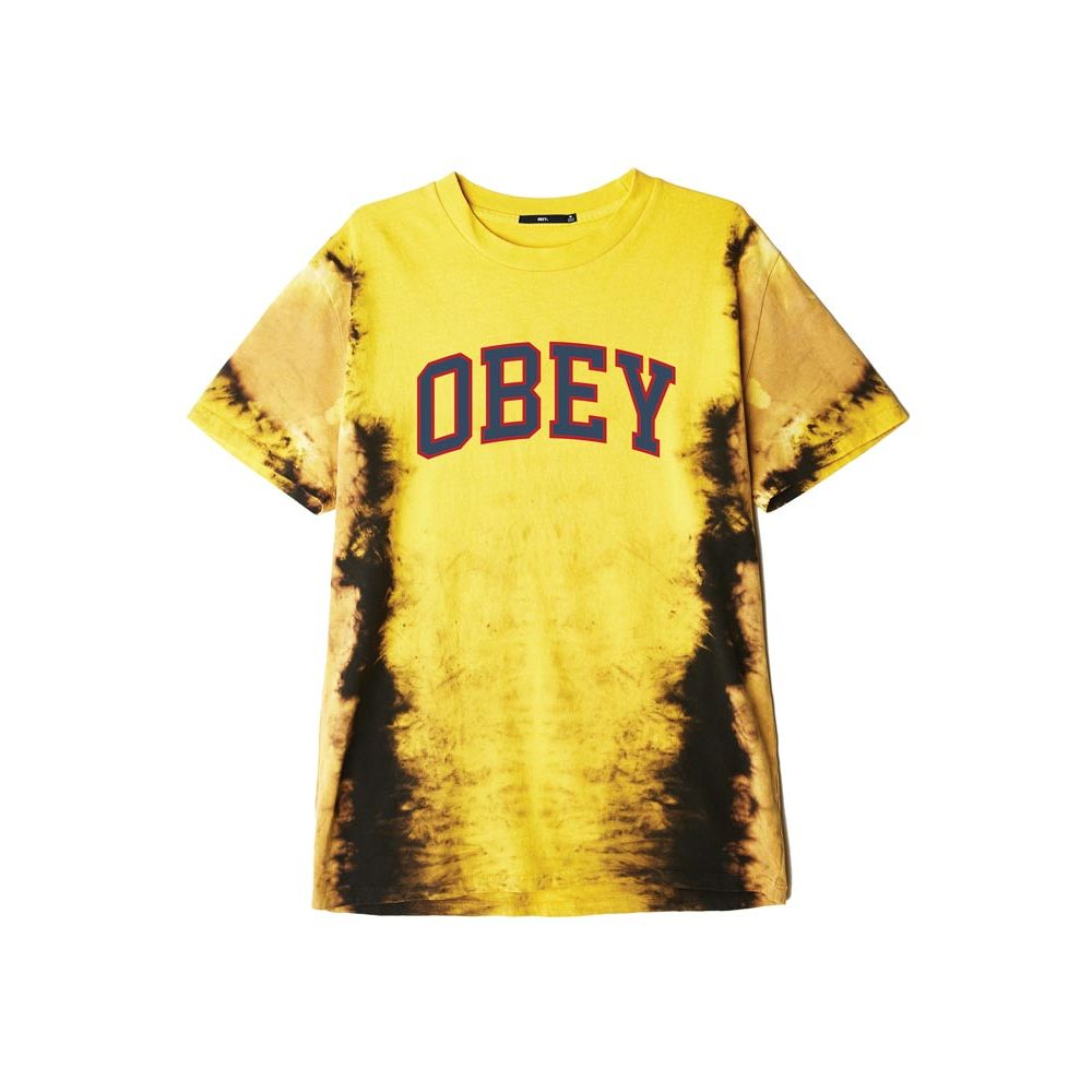 tee shirt homme obey jaune Obey academic tee