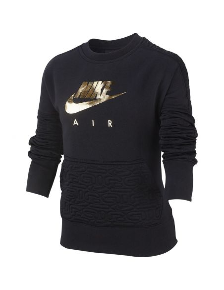 sweat femme nike noir Girl's nike air long-sleeve fleece top BV2703-010