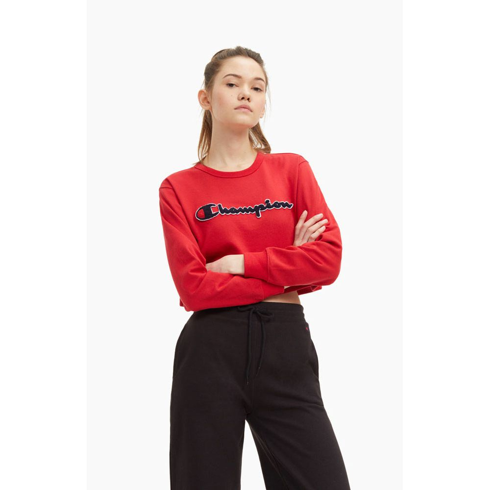sweat femme champion rouge Crewneck croptop