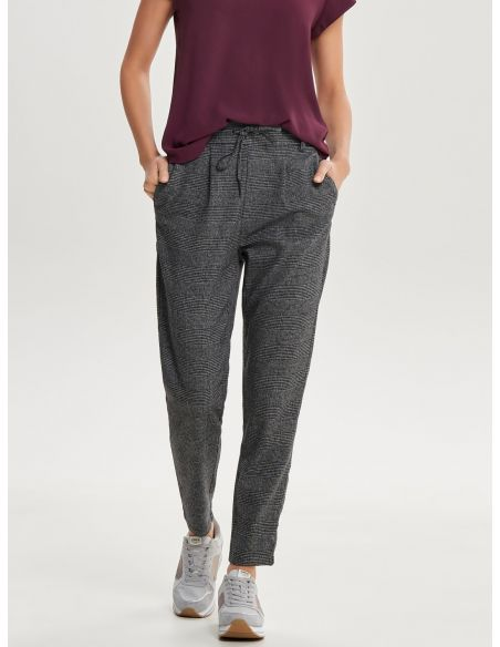 pantalon carreaux only gris foncé Onlpoptrash soft check pant noos 15160890