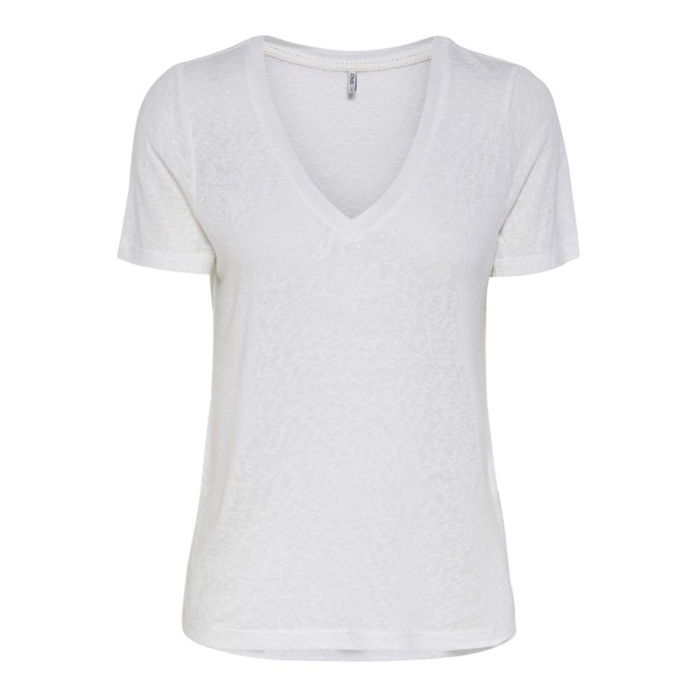 top femme only blanc Onlriley  s/s v-neck top jrs 15186927