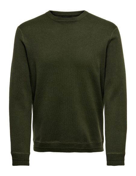Pull homme Only & sons kaki Onsrobbie 12 crew neck knit 22015357
