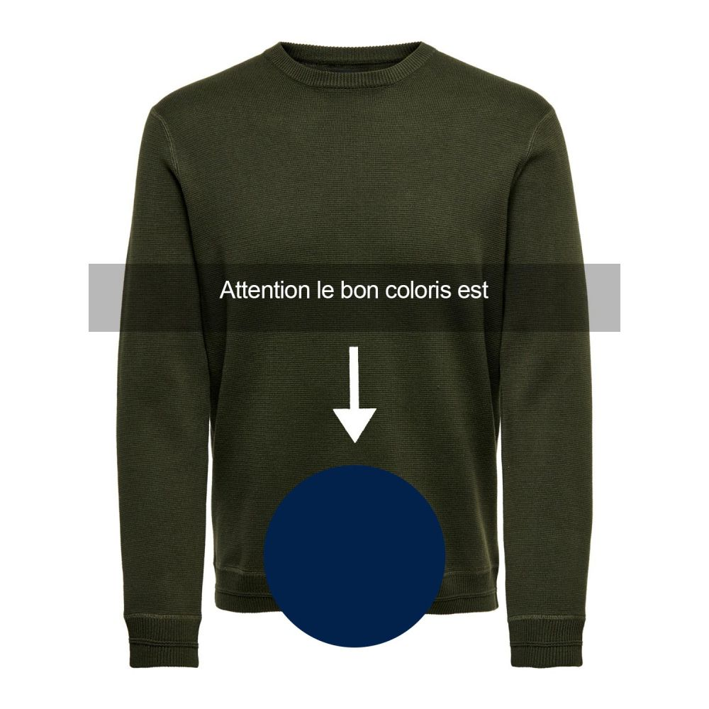 Pull homme Only & sons bleu Onsrobbie 12 crew neck knit 22015357