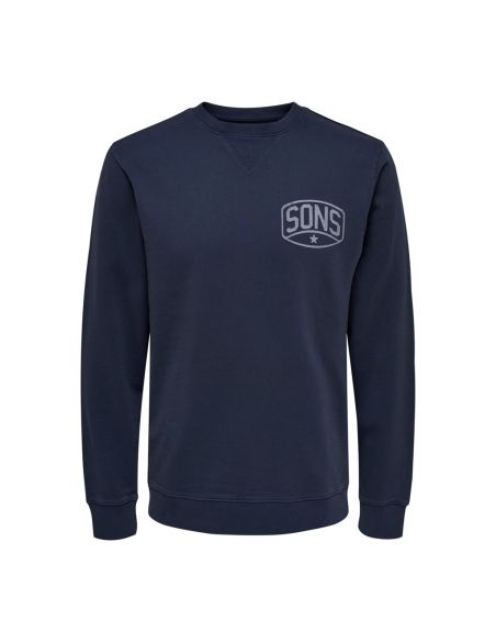 sweat homme only & sons bleu Onspilou artwork washed eq 4366 22014366