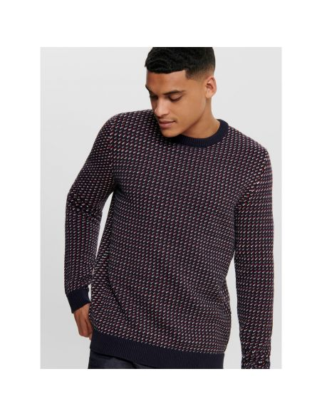 pull maille homme only & sons multi Onshansom 7 jaq crew neck knit 22015364