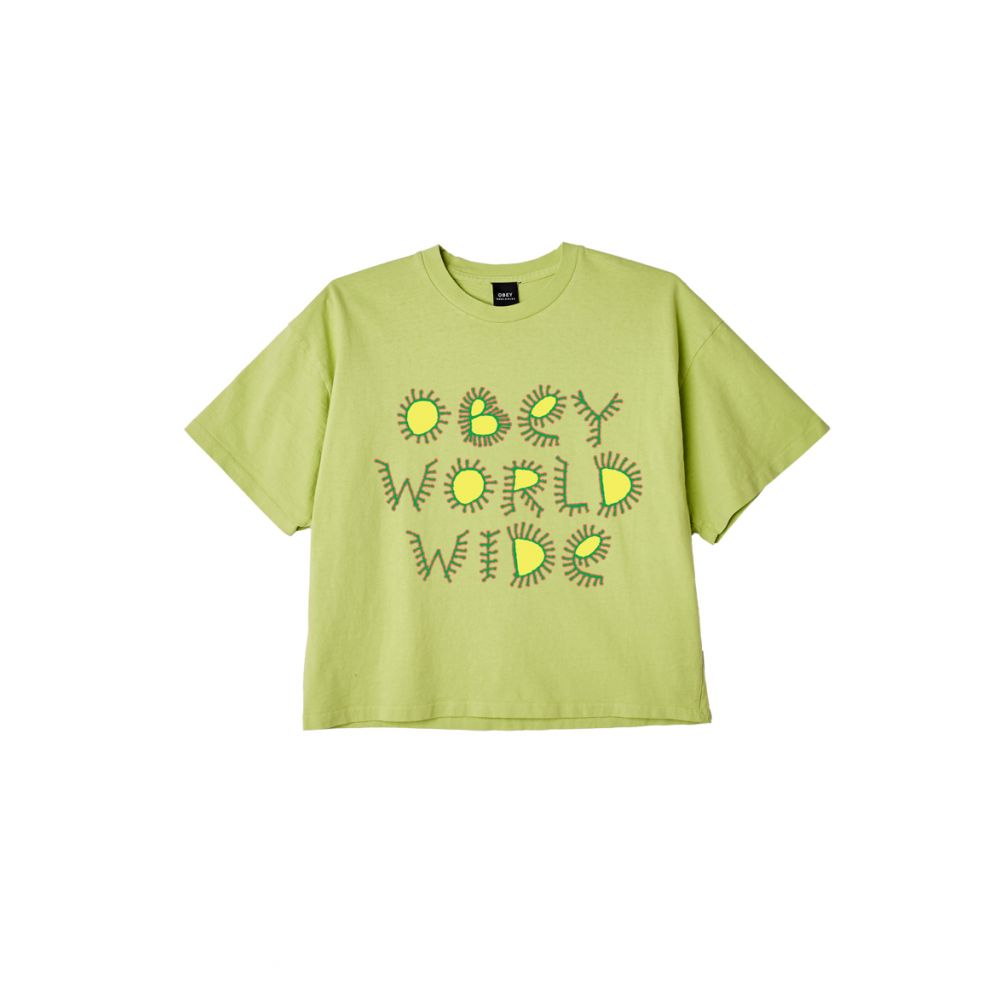 T-shirt femme OBEY vert W come together crop top