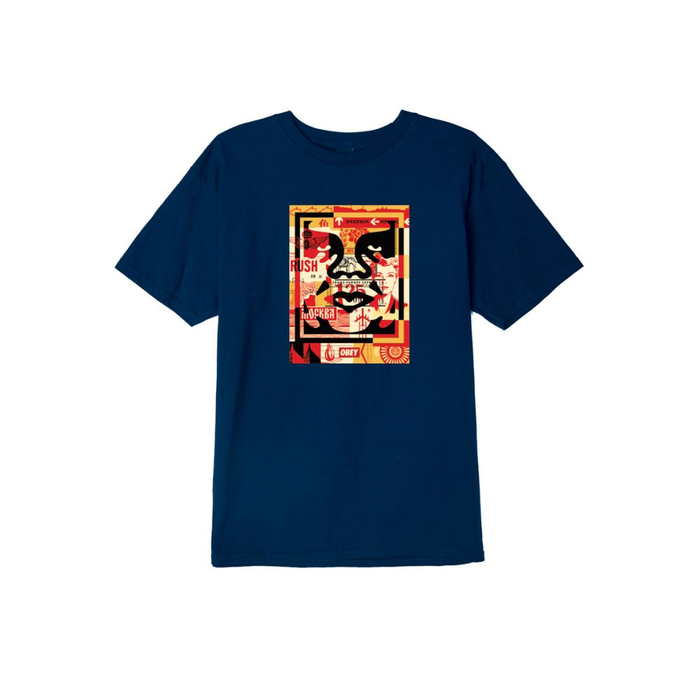 T-shirt homme OBEY M obey 3 face collage tee