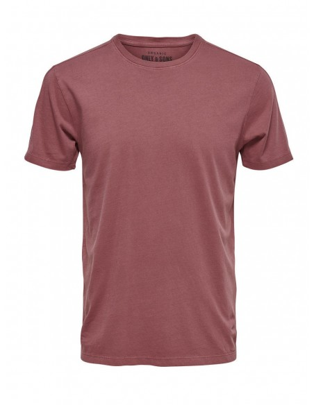 Onskanta organic fitted tee rouge