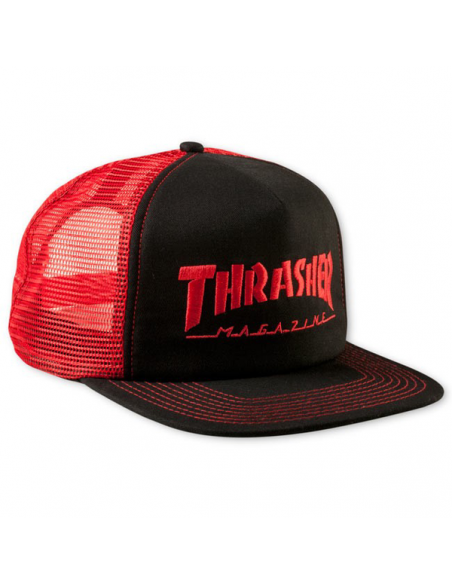Thrasher cap mag logo mesh emb red black