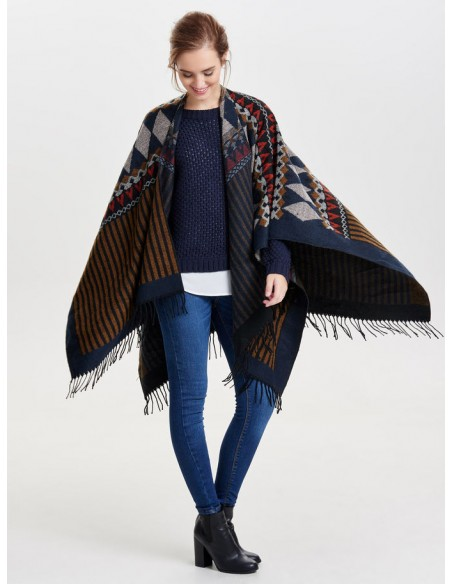 Onlorlena weaved poncho Only  marron