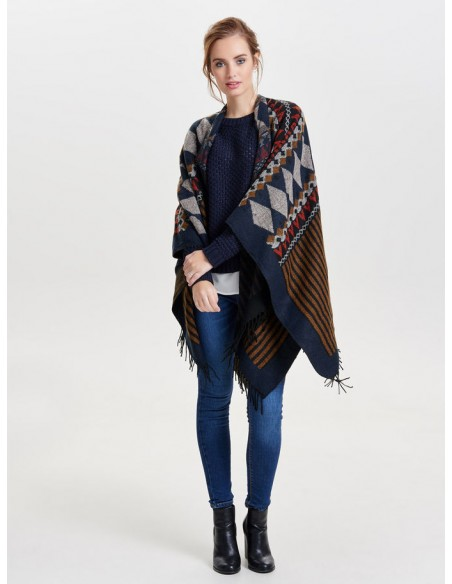 Onlorlena weaved poncho acc only  marron