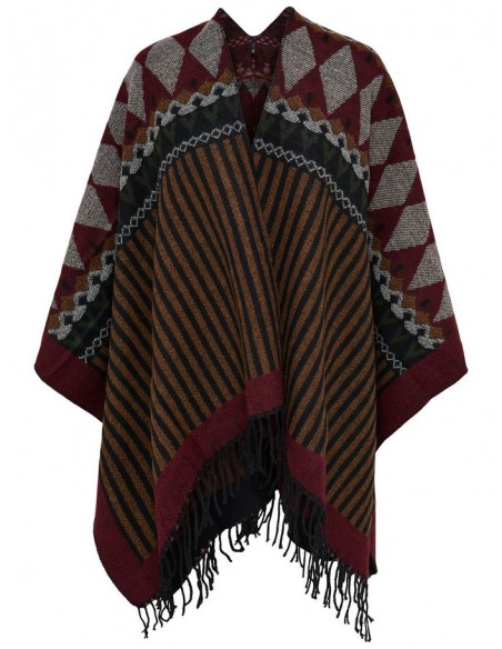 Onlorlena weaved poncho acc rouge