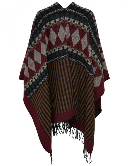 Onlorlena weaved poncho rouge