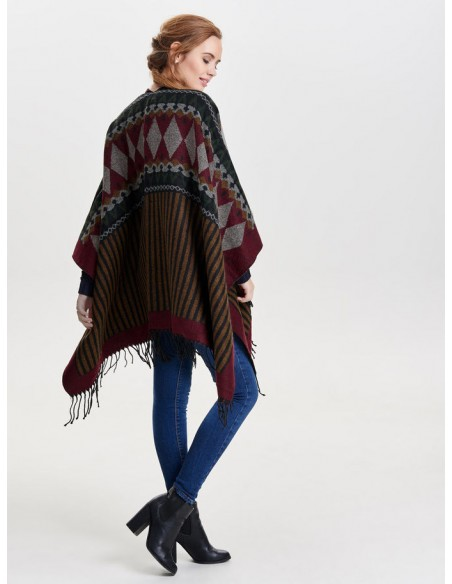 Onlorlena weaved poncho acc Only rouge