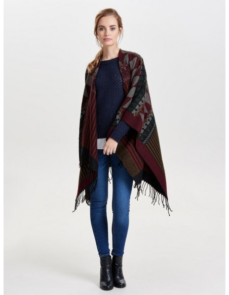 Onlorlena weaved poncho acc femme rouge