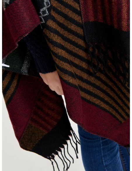 Onlorlena weaved poncho acc only frange rouge