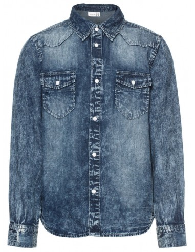 chemise Name It Nitacarls ls dnm shirt nmt noos bleu jean