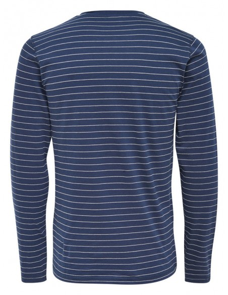 t shirt manches longues homme Only&Sons Onsteo ls grandad tee bleu