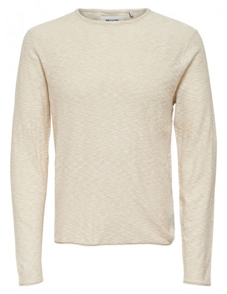pull maille homme Only&Sons beige Onspaldin sb crew neck noos
