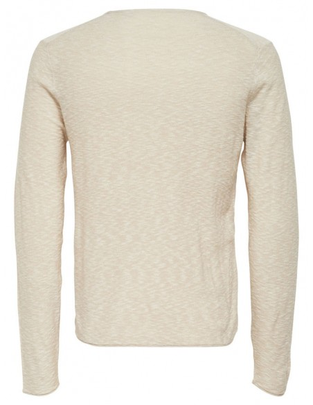 pull homme Only&Sons beige Onspaldin sb crew neck noos