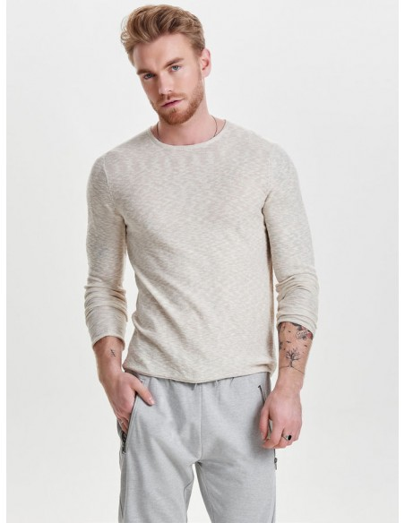 pull Only&Sons beige Onspaldin sb crew neck noos