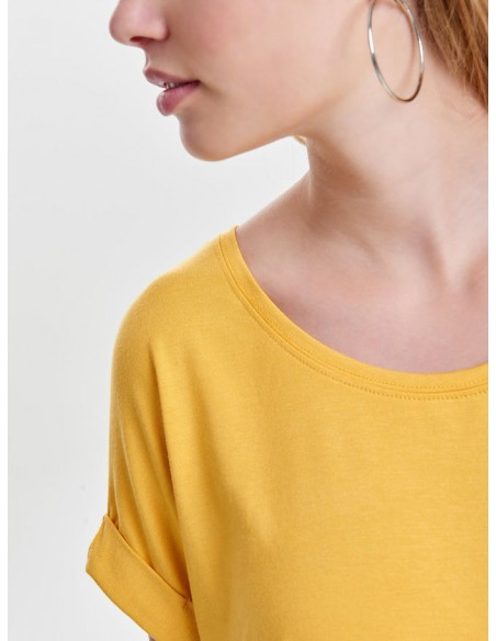 top femme Only jaune Onlmoster s/s o-neck top noos jrs