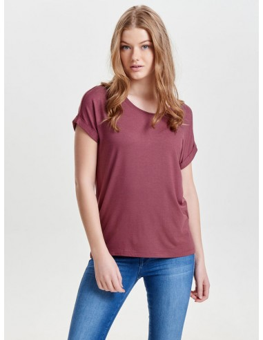 tee-shirt femme Only aubergine Onlmoster s/s o-neck top noos jrs