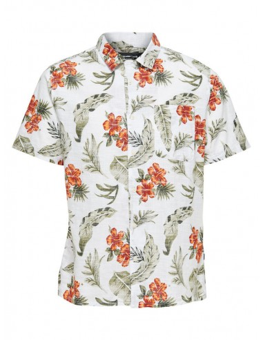 chemise homme Only & Sons blanc Onsalexis ss reg aop shirt