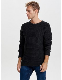pull grosse maille Only&Sons noir Onssato multi clr knit noos