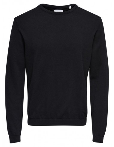 pull homme Only&Sons noir ONSALEX CREW NECK KNIT NOOS