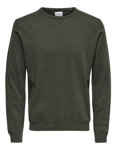 pull homme Only&Sons kaki ONSALEX CREW NECK KNIT NOOS