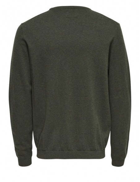 pull fin  homme Only&Sons kaki ONSALEX CREW NECK KNIT NOOS