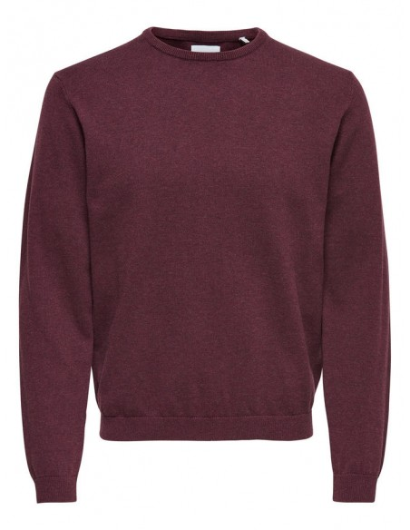 pull homme Only&Sons bordeaux ONSALEX CREW NECK KNIT NOOS