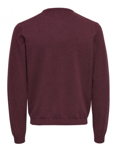 pull fin  homme Only&Sons bordeaux ONSALEX CREW NECK KNIT NOOS