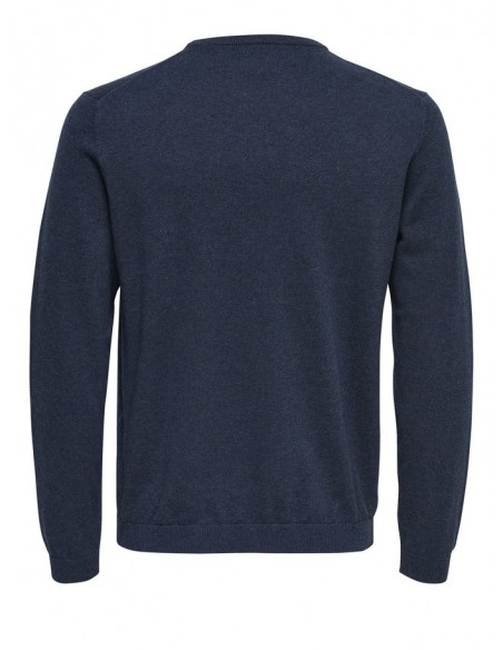 pull fin  homme Only&Sons bleu ONSALEX CREW NECK KNIT NOOS