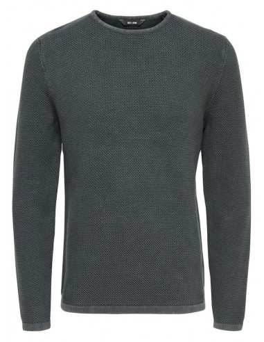 pull maille homme Only&Sons gris foncé Onshugh line crew knit