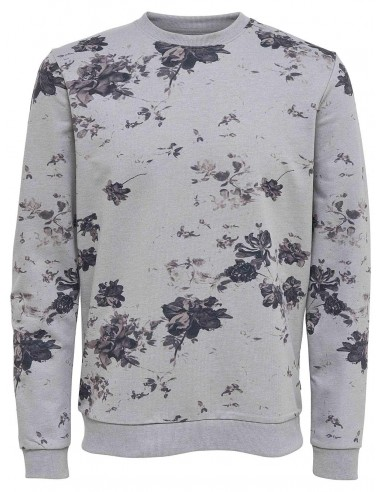 sweat homme Only & Sons gris Onstim flower print sweat