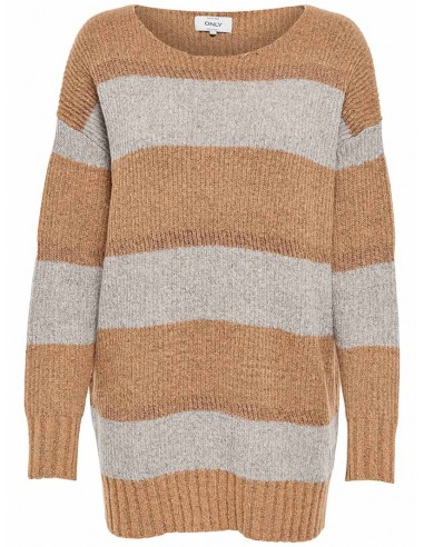 pull femme Only marron Onlmaria l/s pullover knt