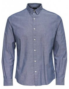 chemise homme Only&sons bleu Onsbernhard ls aop chambray shirt