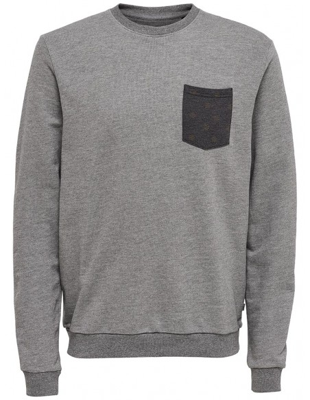 sweat homme Only&Sons gris Onstristen aop sweat