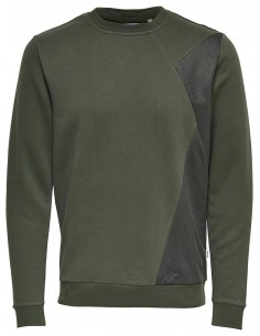 sweat homme Only&Sons kaki Onstravis mesh crew neck