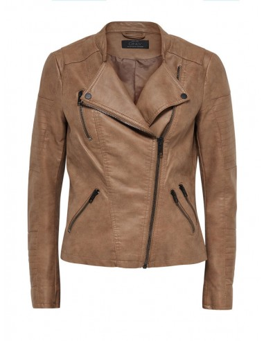 veste femme Only marron Onlava faux leather biker otw noos